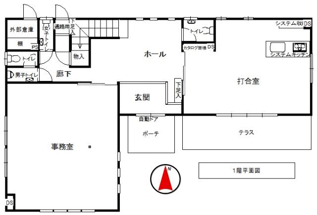 軽井沢戸建1階平面図